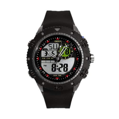 OHSEN YI-AD1211-1 LCD Tag Datum Alarm Stoppuhr Rubber Dual Core Mens Sport Watch Silber