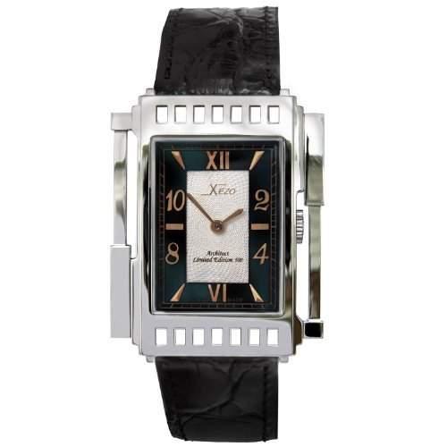 Xezo Unisex Architect Schweizer Uhr im Tank-Stil Keine zwei Uhren sind identisch Vintage-Stil Schwarzen Naturperlmutt Wasserfest 165 Fuss  50 Meter