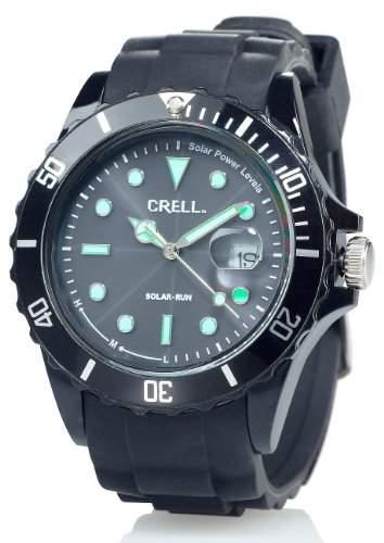 Crell SOLAR-betriebene Quarz-Uhr mit Silikonarmband, schwarz