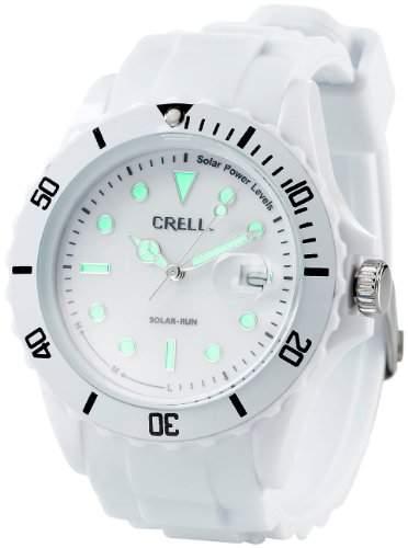 Crell SOLAR-betriebene Quarz-Uhr mit Silikonarmband, strahlend-weiss