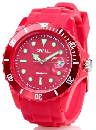 Crell SOLAR-betriebene Quarz-Uhr mit Silikonarmband, rot