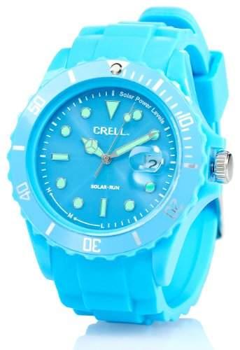Crell SOLAR-betriebene Quarz-Uhr mit Silikonarmband, himmelblau