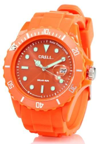 Crell SOLAR-betriebene Quarz-Uhr mit Silikonarmband, poppig-orange
