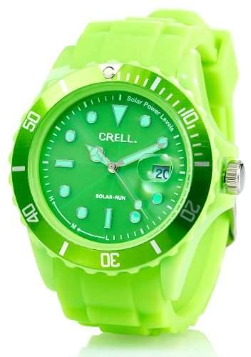 Crell SOLAR-betriebene Quarz-Uhr mit Silikonarmband, peppig-gruen