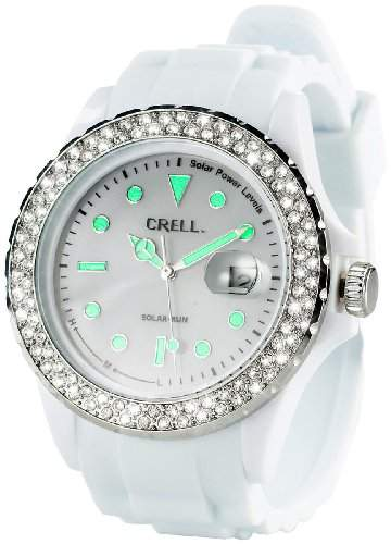 Crell SOLAR-betriebene Uhr mit Silikonarmband & Strass-Steinen, weiss