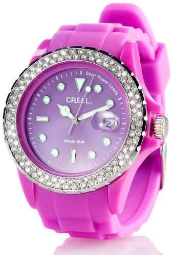 Crell SOLAR-betriebene Uhr mit Silikonarmband & Strass-Steinen, purpur