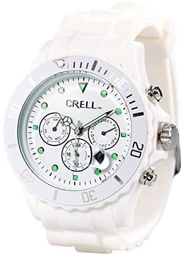 Crell Multifunktions-Uhr mit Silikon-Armband, Strahlend-weiss