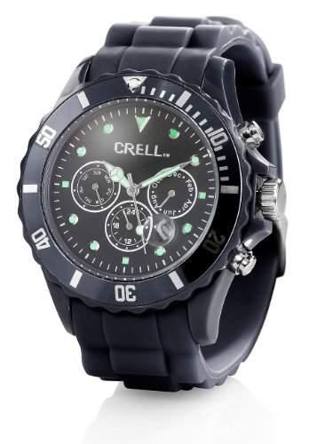 Crell Multifunktions-Uhr mit Silikon-Armband, Klassisch schwarz