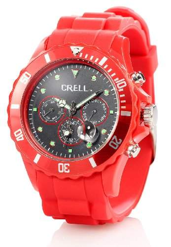 Crell Multifunktions-Uhr mit Silikon-Armband, Leuchtend-rot