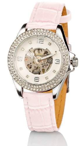 Crell Strassbesetzte Automatik-Armbanduhr fuer Damen, perlmutt-pink