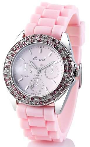 Crell Quarz-Armbanduhr im Chronographen-Look mit Strass, rosa