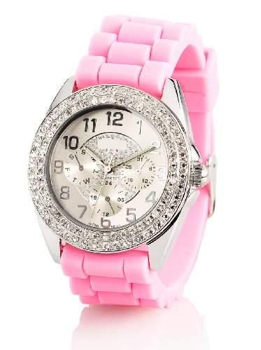 Crell Elegante Quarz-Armbanduhr mit Strass, dunkelrosa