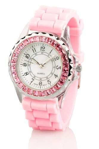 Crell Sportliche Silikon-Quarz-Armbanduhr mit Strass, rosa
