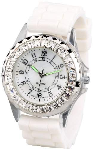 Crell Sportliche Silikon-Quarz-Armbanduhr mit Strass, weiss