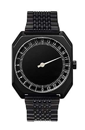 slow Jo 03 - Schweizer unisex Einzeigerarmbanduhr analoge 24 Stundenanzeige Edelstahlarmband schwarz