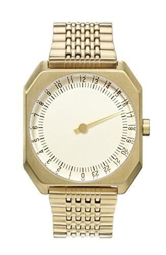 slow Jo 04 - Schweizer unisex Einzeigerarmbanduhr analoge 24 Stundenanzeige Edelstahlarmband gold