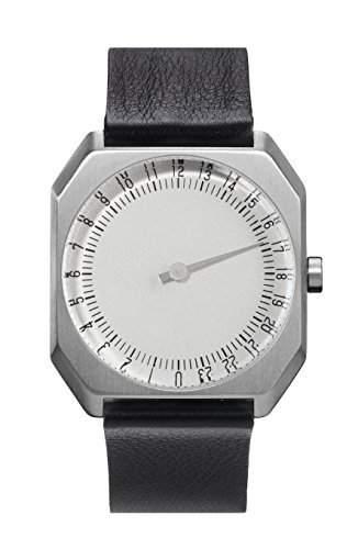 slow Unisex-Armbanduhr slow Jo 05 - Black Leather, Silver Case, Silver Dial Analog Leder Schwarz slow Jo 05
