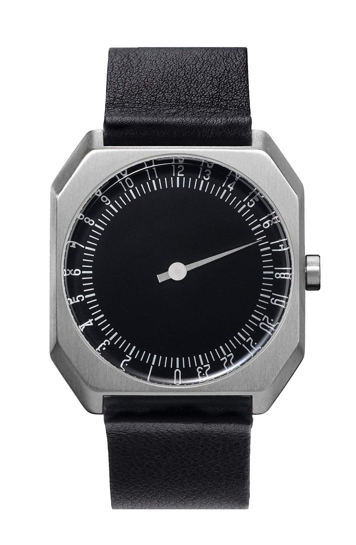 slow Unisex-Armbanduhr slow Jo 06 - Black Leather, Silver Case, Black Dial Analog Leder Schwarz slow Jo 06