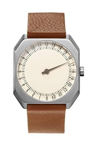 slow Jo 09 - Schweizer unisex Einzeigerarmbanduhr analoge 24 Stundenanzeige Leder silber  braun