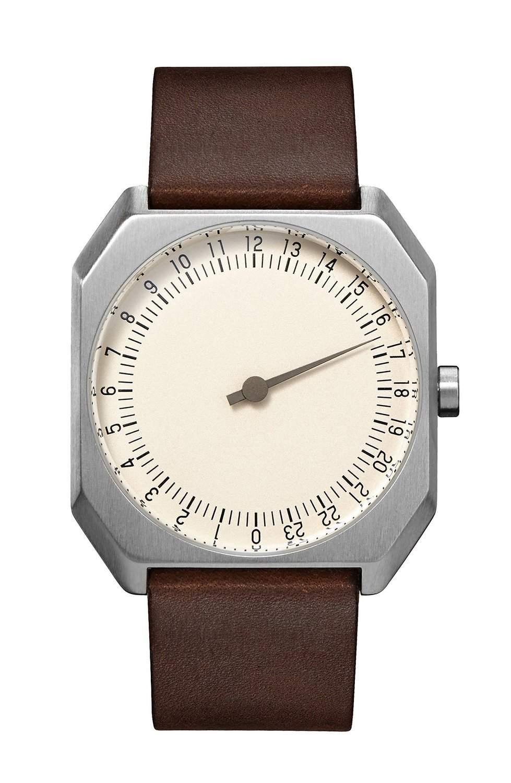 slow Jo 17 - Schweizer unisex Einzeigerarmbanduhr analoge 24 Stundenanzeige Leder silber  dunkelbraun