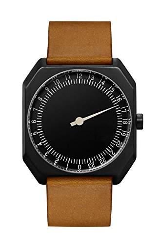 Slow Jo 19-Braun Vintage Leder schwarz Fall Schwarz Zifferblatt Unisex Quarzuhr mit schwarzem Zifferblatt Analog-Anzeige und braunem Lederband