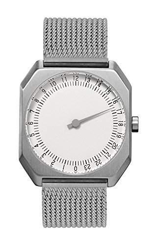Slow Jo 21-Alle Silber Mesh Unisex Quarz-Armbanduhr mit Silber Zifferblatt Analog-Anzeige und Silber Edelstahl Armband