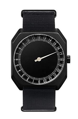 Slow Jo 25-alle schwarz Nylon Unisex Quarzuhr mit schwarzem Zifferblatt Analog-Anzeige und Nylon Gurt Schwarz