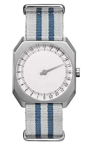 slow Jo 26 - Schweizer Unisex Einzeigerarmbanduhr analoge 24 Stunden Anzeige Silber mit blaugrauem Nylonband