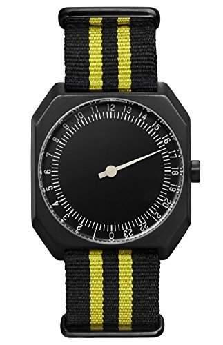 slow Jo 27 - Schweizer Unisex Einzeigerarmbanduhr analoge 24 Stunden Anzeige schwarz mit schwarzgelbem Nylonband