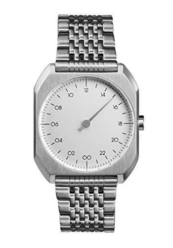 Slow MO 01-alle Silber Stahl Zifferblatt Unisex Quarzuhr mit Silber Zifferblatt Analog-Anzeige und Silber Edelstahl Armband