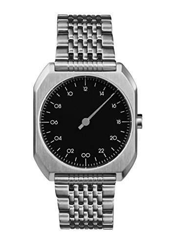 Slow MO 02-alle Silber Stahl schwarz Zifferblatt Unisex Quarzuhr mit schwarzem Zifferblatt Analog-Anzeige und Silber Edelstahl Armband