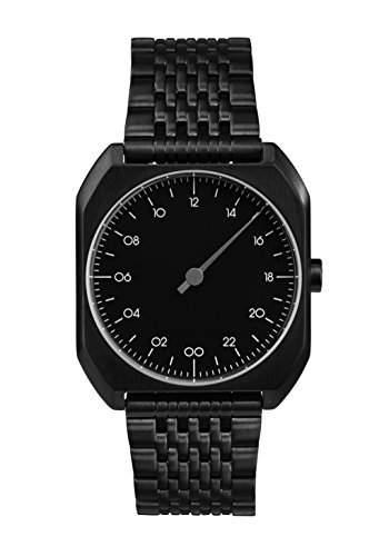 Slow MO 03-alle schwarz Stahl Unisex Quarzuhr mit schwarzem Zifferblatt Analog-Anzeige und schwarz Edelstahl vergoldet Armband