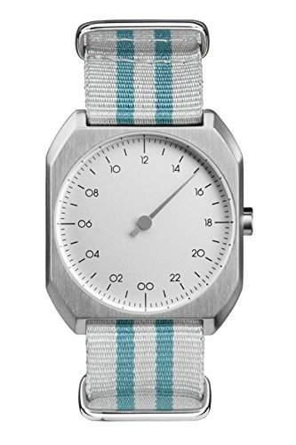 slow Mo 12 - Schweizer Unisex Einzeigerarmbanduhr analoge 24 Stunden Anzeige silber mit tuerkisgrauem Nylonband