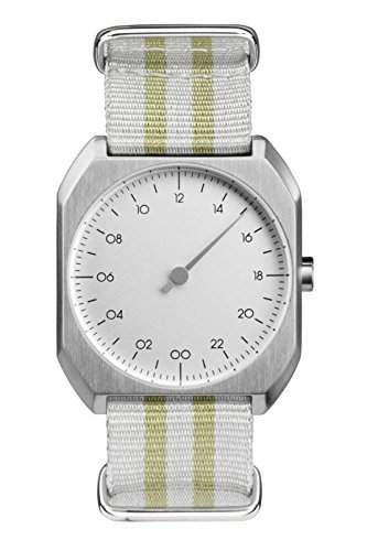slow Mo 13 - Schweizer Unisex Einzeigerarmbanduhr analoge 24 Stunden Anzeige silber mit gelbgrauem Nylonband