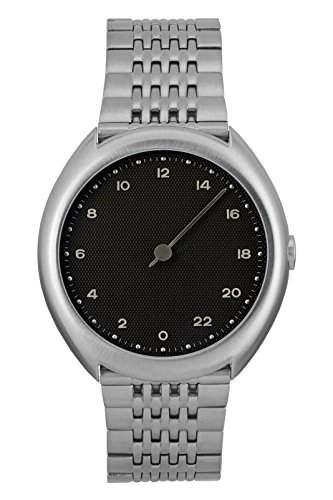 Slow O 02-alle Silber Stahl schwarz Zifferblatt Unisex Quarzuhr mit schwarzem Zifferblatt Analog-Anzeige und Silber Edelstahl Armband