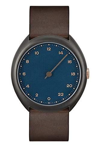 slow Unisex-Armbanduhr slow O 14 - Dark Brown Vintage Leather, Anthracite Case, Blue Dial Analog Leder Dunkelbraun slow O 14