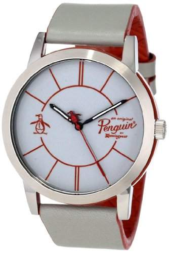 Original Penguin Herren-Armbanduhr Analog Leder grau OP1025SL