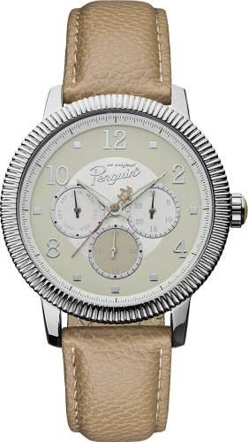 Original Penguin Herren-Armbanduhr Analog Quarz Leder OP5008SL