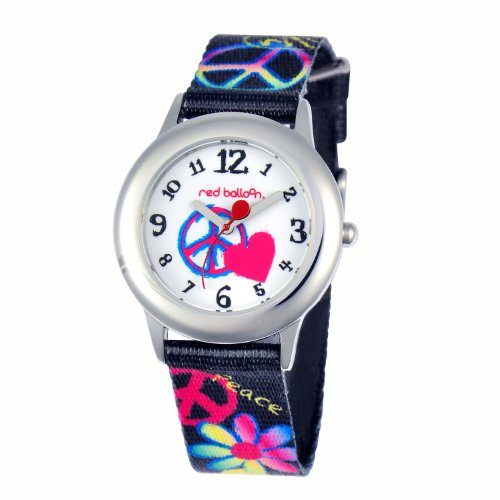 Red Balloon Kinder Armbanduhr Red Balloon Peace Love Happiness Tween Stainless Steel Analog Textil Schwarz W000340