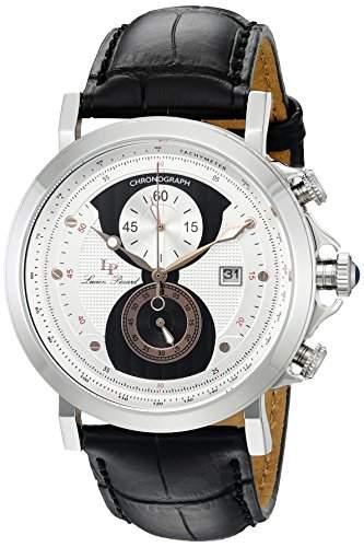 Lucien Piccard Pegasus Herren-Armbanduhr 45mm Armband Leder Schwarz Gehaeuse Edelstahl Quarz 40015-02S-RA