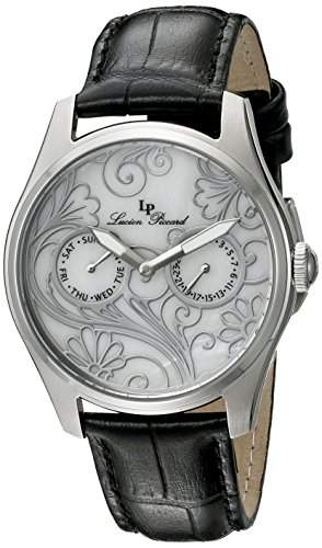 Lucien Piccard Lovemaze Damen-Armbanduhr 36mm Armband Leder Schwarz Gehaeuse Edelstahl Quarz 10147-02MOP