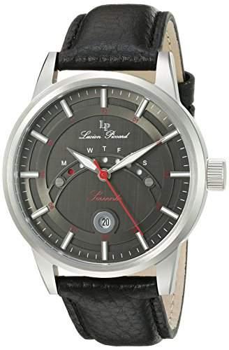 Lucien Piccard Sorrento Herren-Armbanduhr 44mm Armband Leder Schwarz Gehaeuse Edelstahl Automatik 10154-01