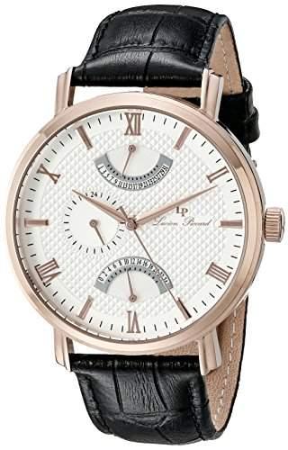 Lucien Piccard Verona Herren-Armbanduhr 44mm Armband Leder Schwarz Gehaeuse Edelstahl Quarz 10340-RG-02S