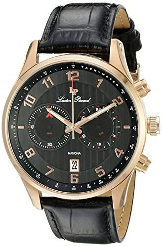 Lucien Piccard Navona Herren-Armbanduhr 44mm Armband Leder Schwarz Gehaeuse Edelstahl Quarz 11187-RG-01