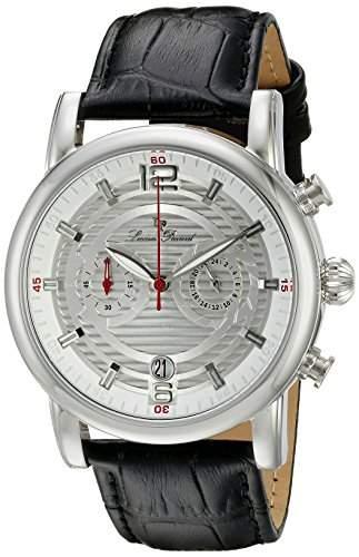 Lucien Piccard Morano Herren-Armbanduhr 45mm Armband Leder Schwarz Gehaeuse Edelstahl Automatik 14084-02S