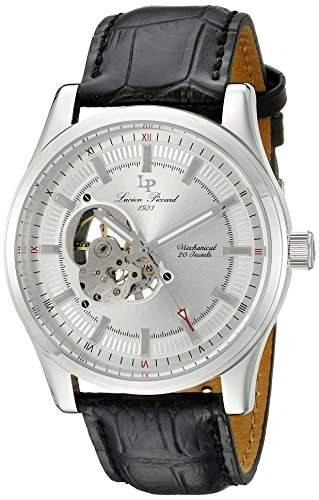 LUCIEN PICCARD HERREN Mechanische Uhr mit Silber Zifferblatt Analog-Anzeige und schwarz Lederband lp-40006m-02s