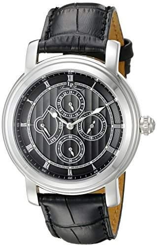 Lucien Piccard Valarta Herren-Armbanduhr 45mm Armband Leder Schwarz Gehaeuse Edelstahl Quarz 40009-01