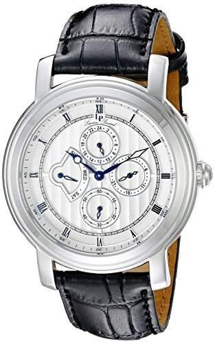 Lucien Piccard Valarta Herren-Armbanduhr 45mm Armband Leder Schwarz Gehaeuse Edelstahl Quarz 40009-02S