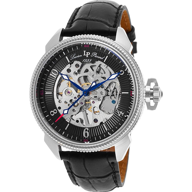 Lucien Piccard Trevi Herren-Armbanduhr 44mm Armband Leder Schwarz Gehaeuse Edelstahl Handaufzug 40052M-01