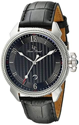 Lucien Piccard Trevi Herren-Armbanduhr 43mm Armband Leder Schwarz Gehaeuse Edelstahl Quarz Analog 40053-01